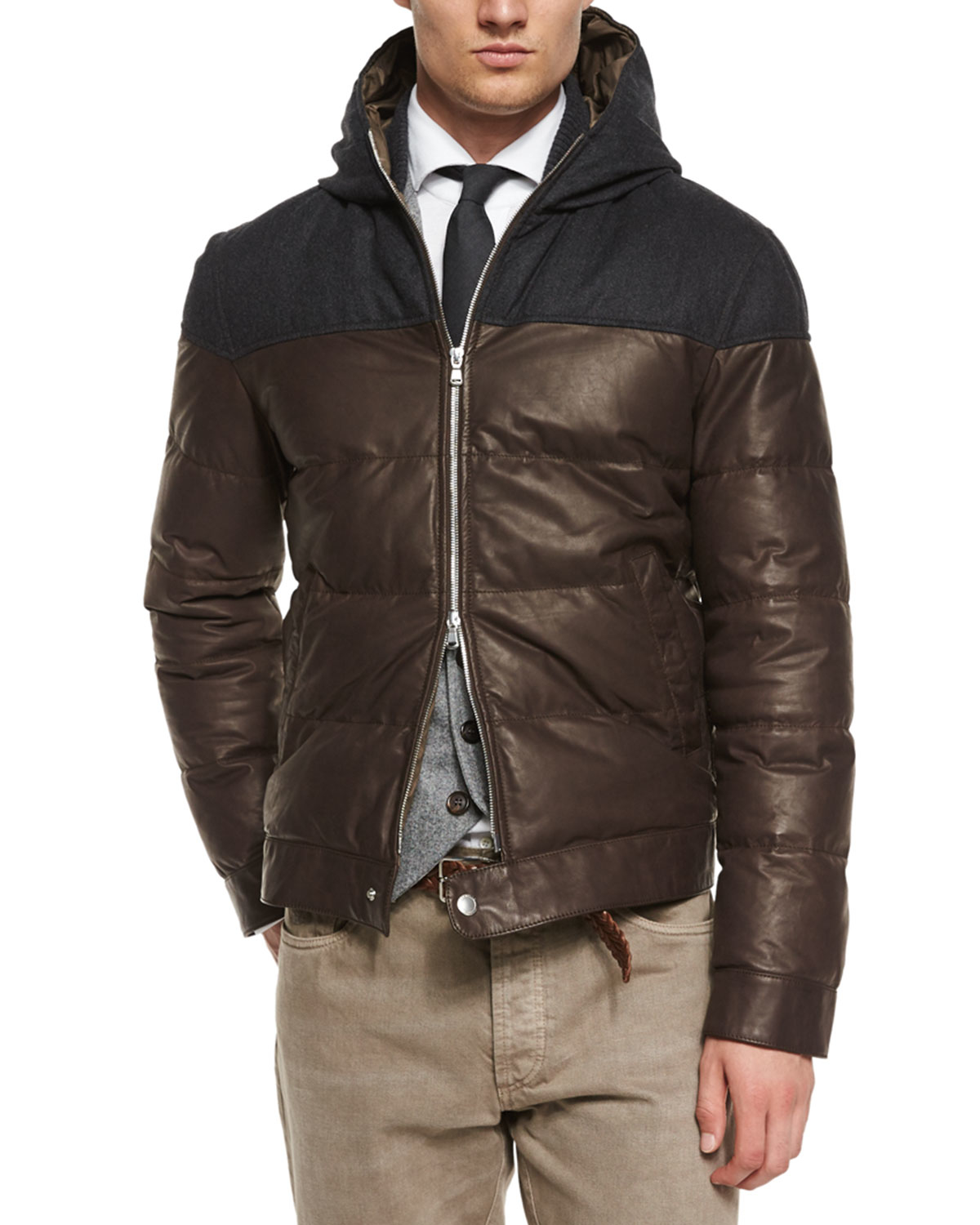 Brunello cucinelli Hooded Leather Parka in Brown for Men | Lyst