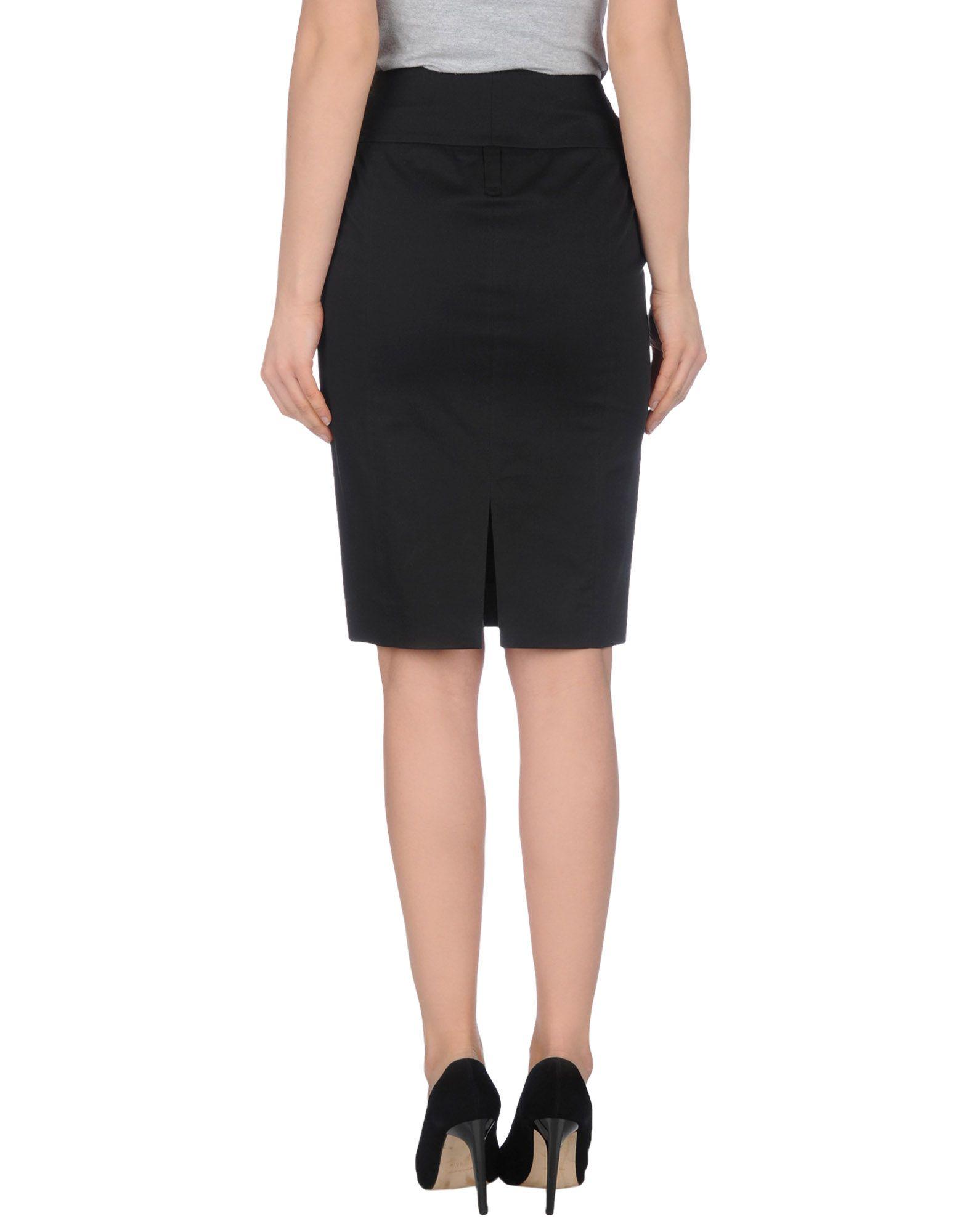 metradamo black knee length skirt lyst