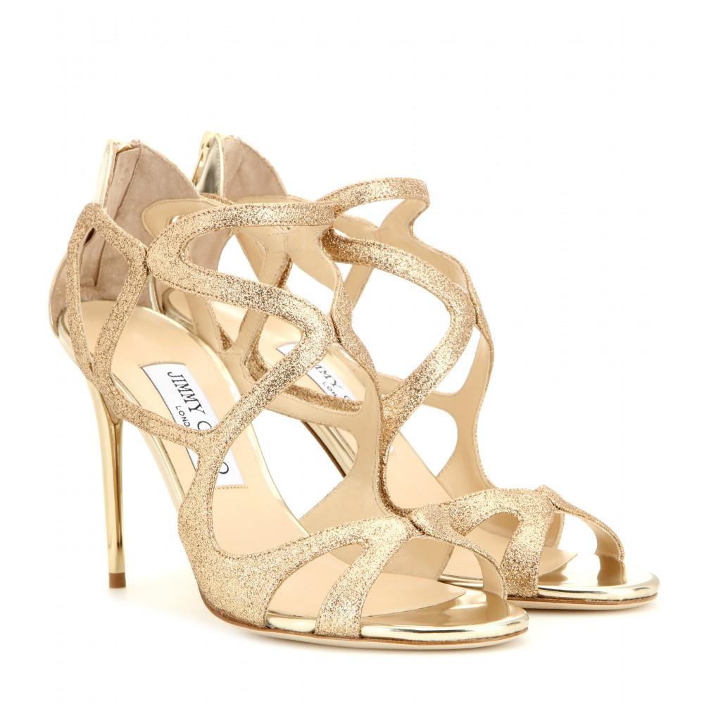 3f026b7906c Lyst - Jimmy Choo Leslie 100 Glitter Sandals in Metallic
