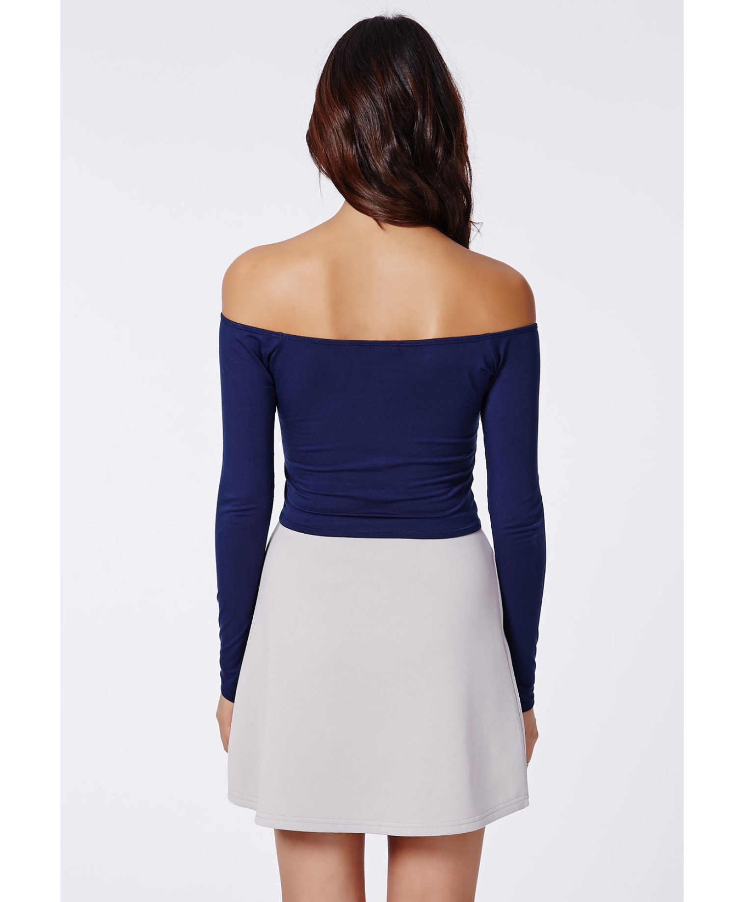 c76f6e991454d Lyst - Missguided Carrisa Long Sleeve Jersey Bardot Crop Top Navy in ...