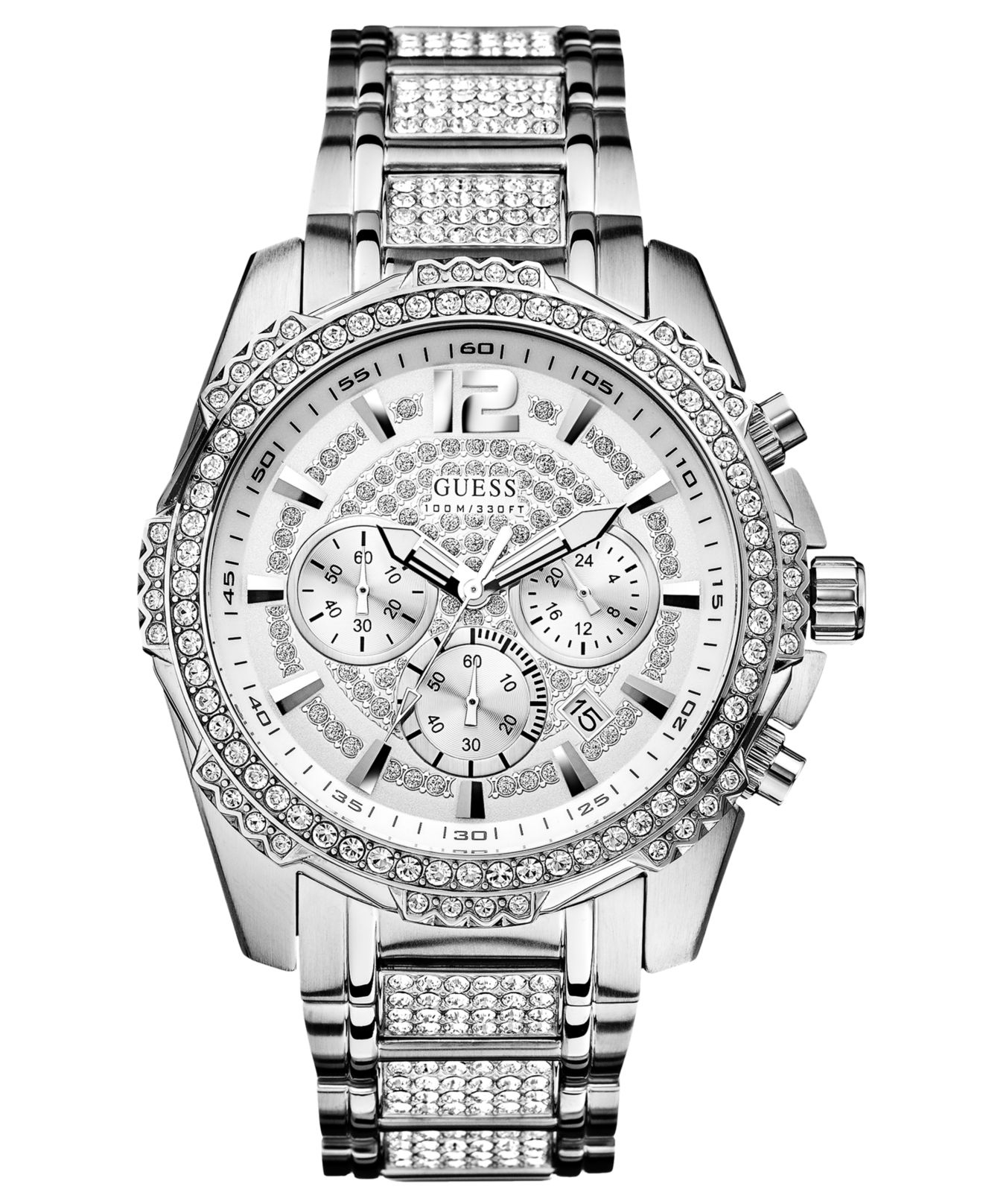 Guess Men's Chronograph Crystal-accent Stainless Steel ...