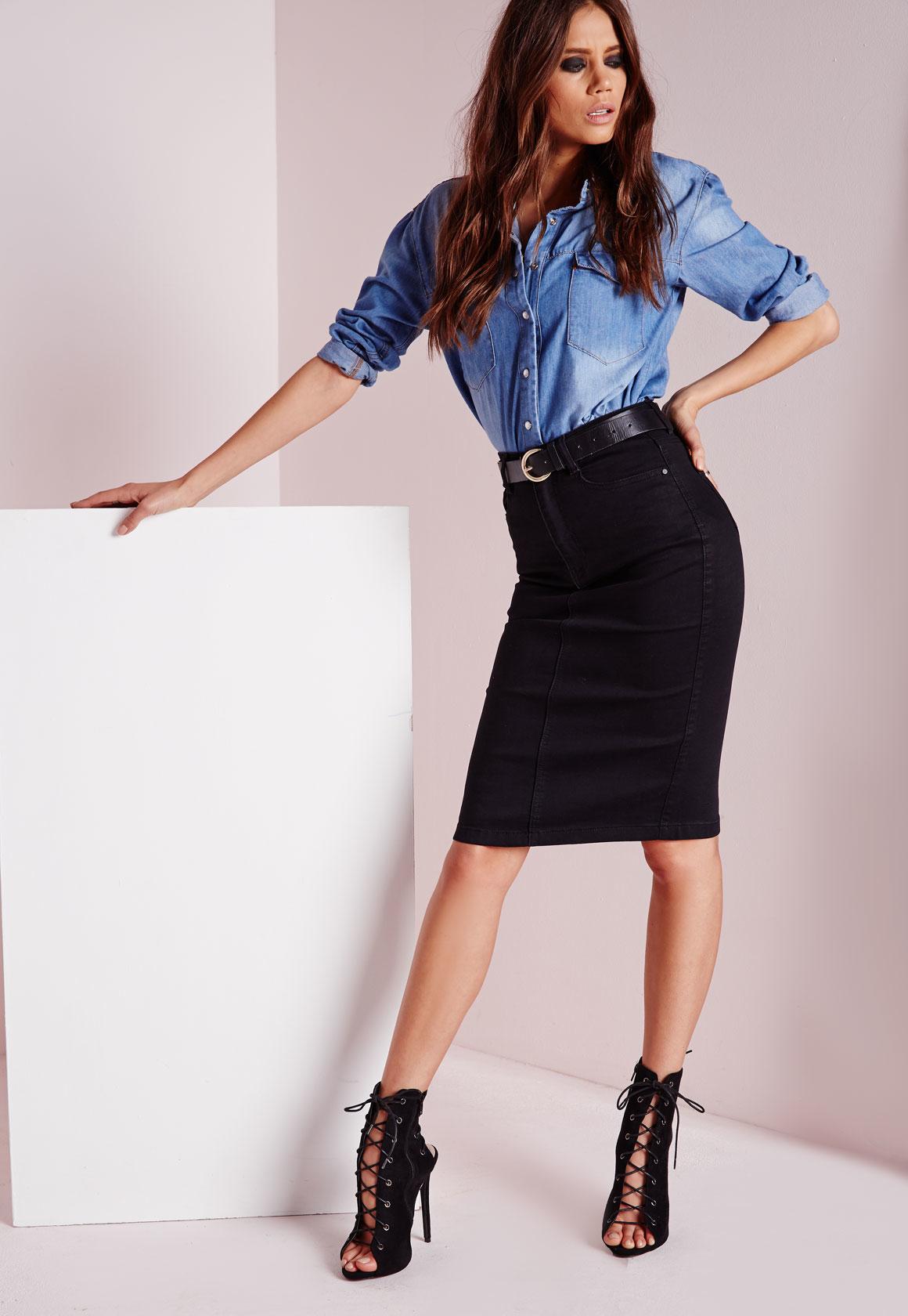 Missguided Petite High Waisted Midi Denim Skirt Black in Blue | Lyst