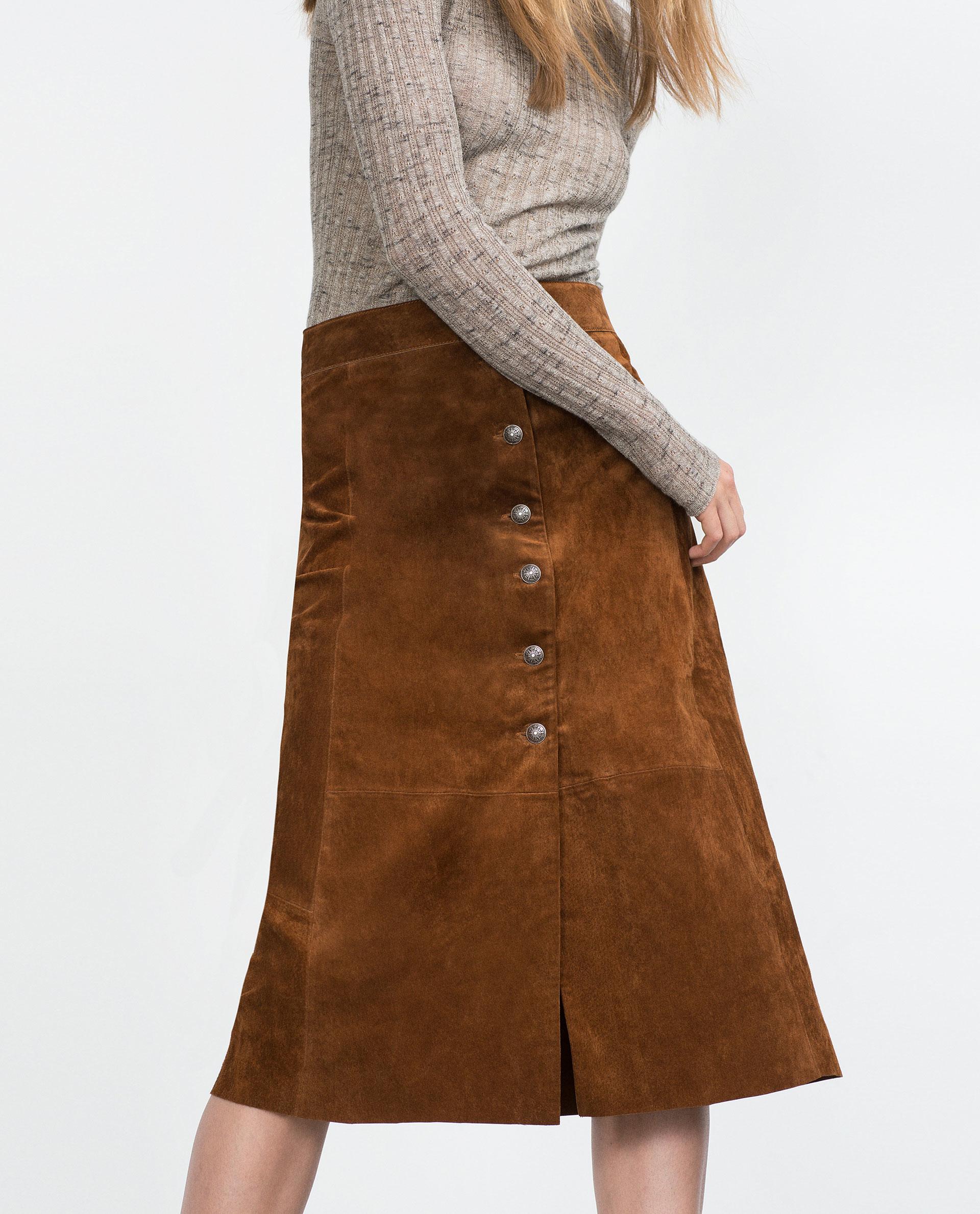 zara leather skirt in brown lyst