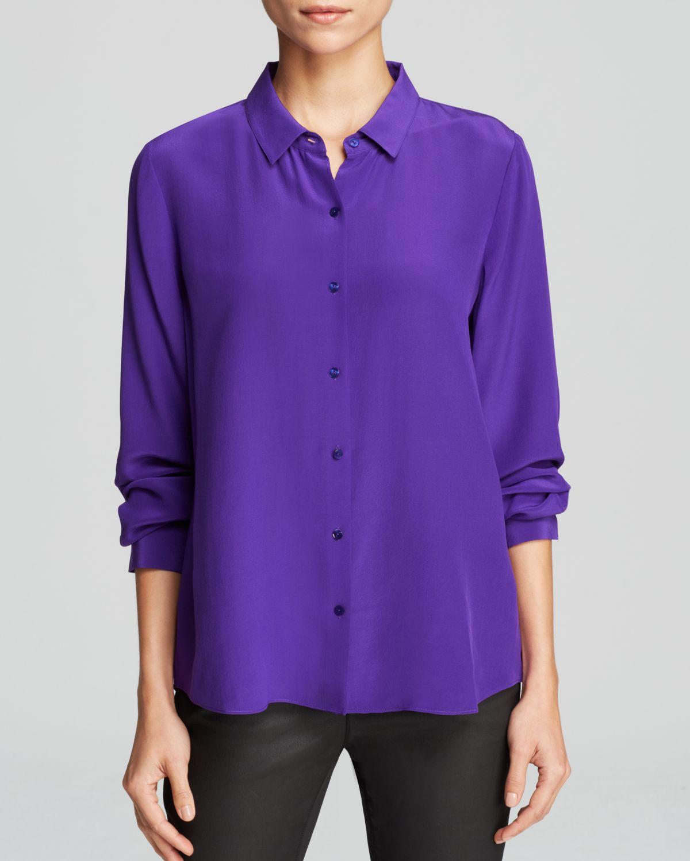 Lyst eileen fisher silk button down blouse in purple for Silk button down shirt