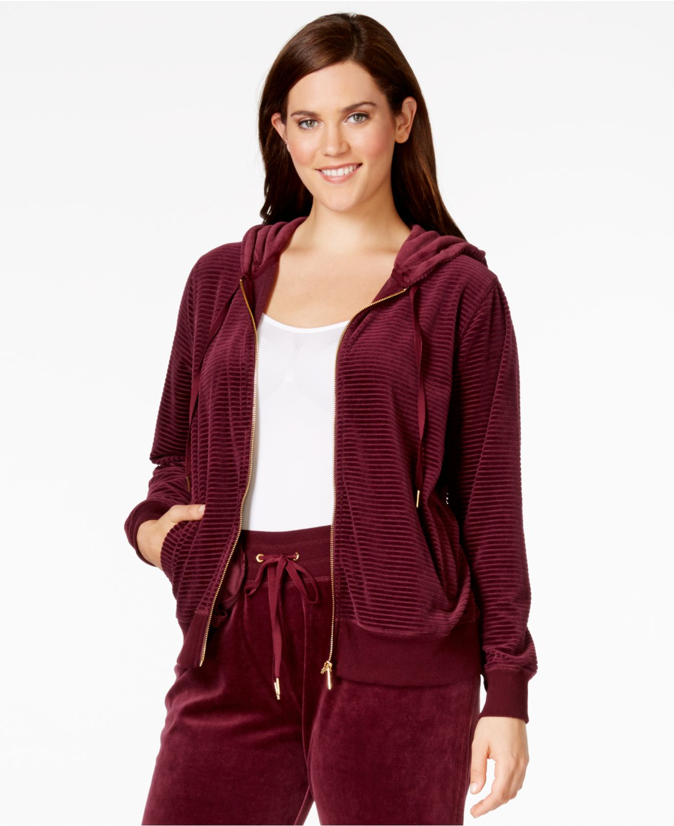 7ea633905bc Lyst - Calvin Klein Plus Size Ribbed-knit Velour Hoodie in Purple