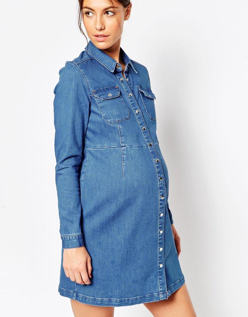 Lyst asos maternity denim a line dress in blue in blue gallery ombrellifo Gallery