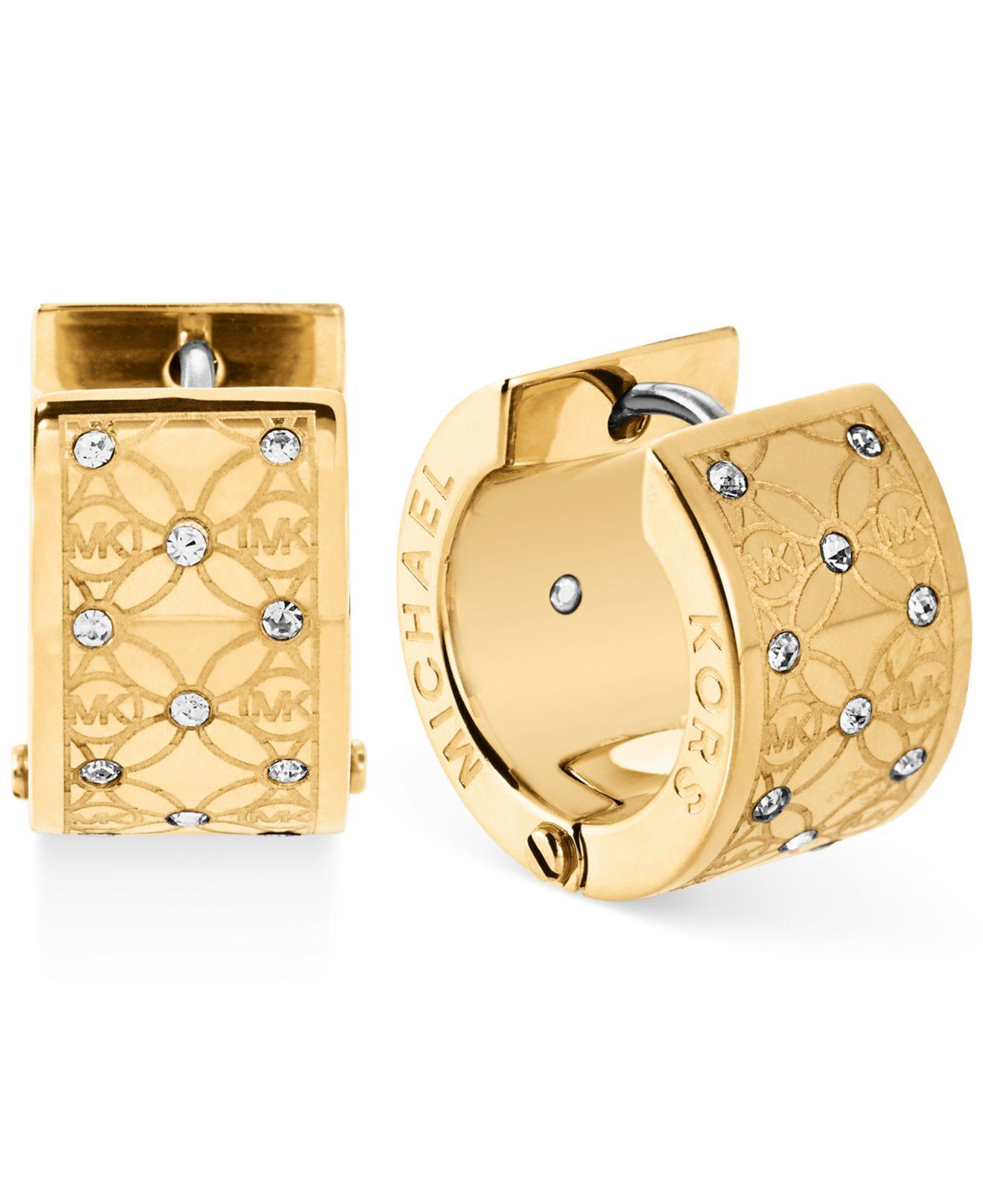 Michael kors Gold Tone Pavé Monogrammed Huggie Earrings in