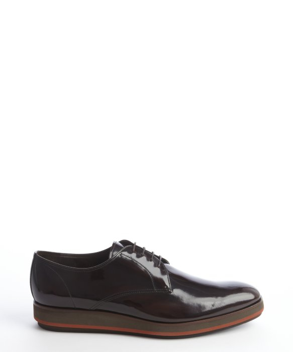 Prada Dark Brown Patent Leather Lace Up Oxfords in Brown for Men ...
