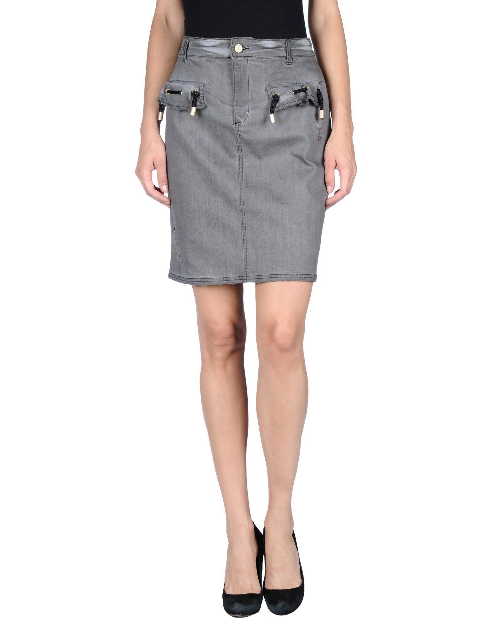 galliano denim skirt in gray lyst