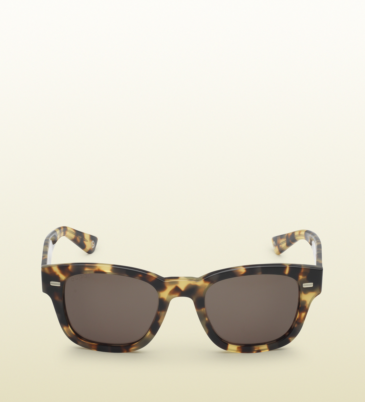 a3302b8483 Lyst - Gucci Havana Acetate Round-frame Sunglasses in Yellow for Men