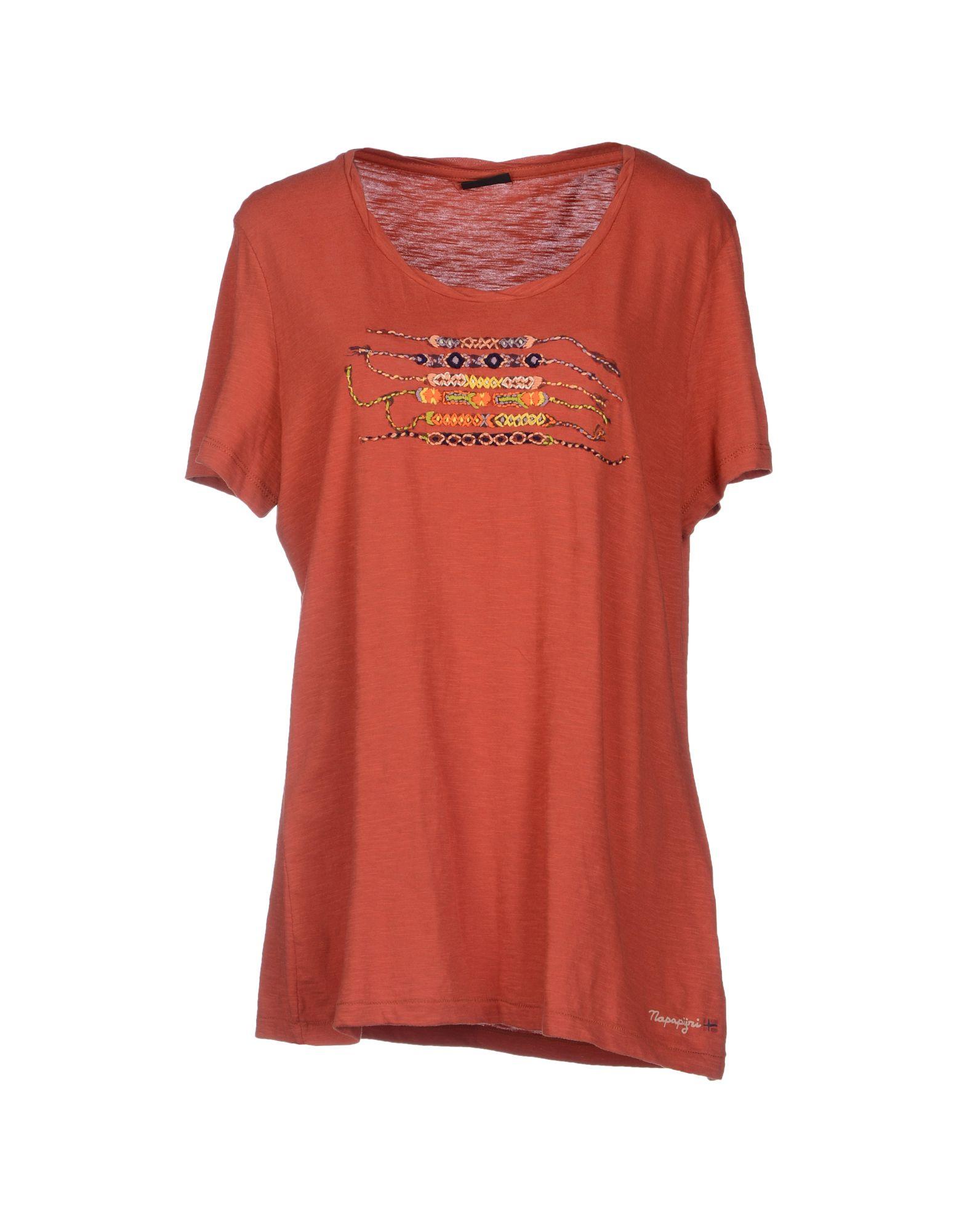 napapijri t shirt in red brick red lyst. Black Bedroom Furniture Sets. Home Design Ideas