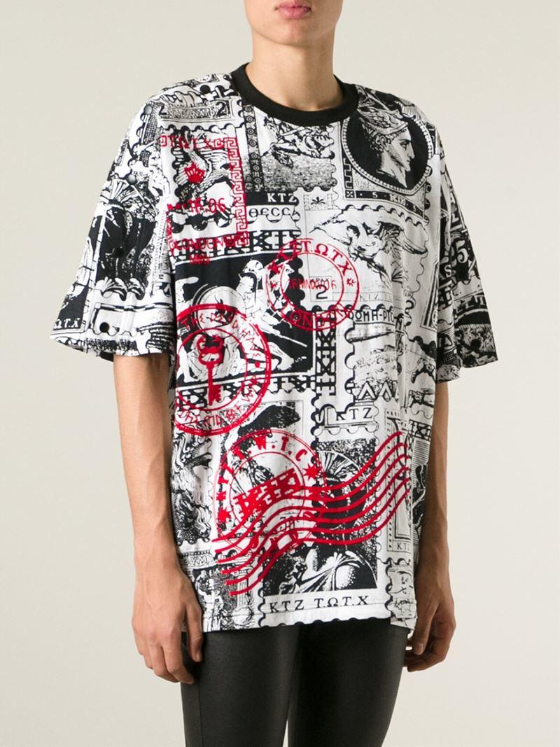 Ktz Oversized Stamp Print T Shirt In White For Men Lyst