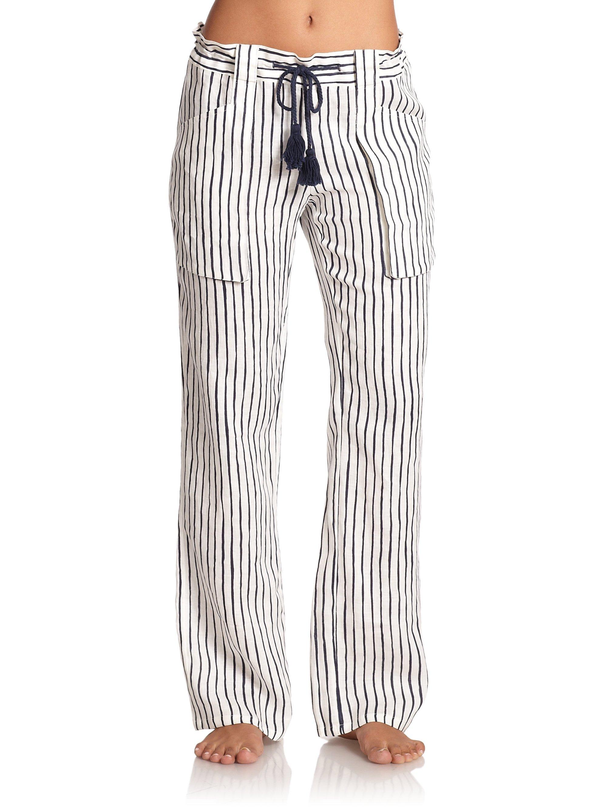 Striped Linen Pants Pi Pants