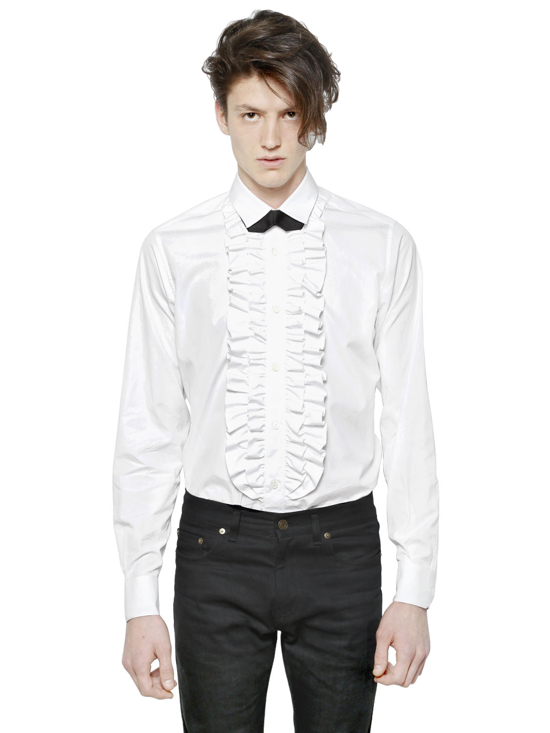 Saint laurent ruffle plastron cotton poplin shirt in white for Frilly shirts for men