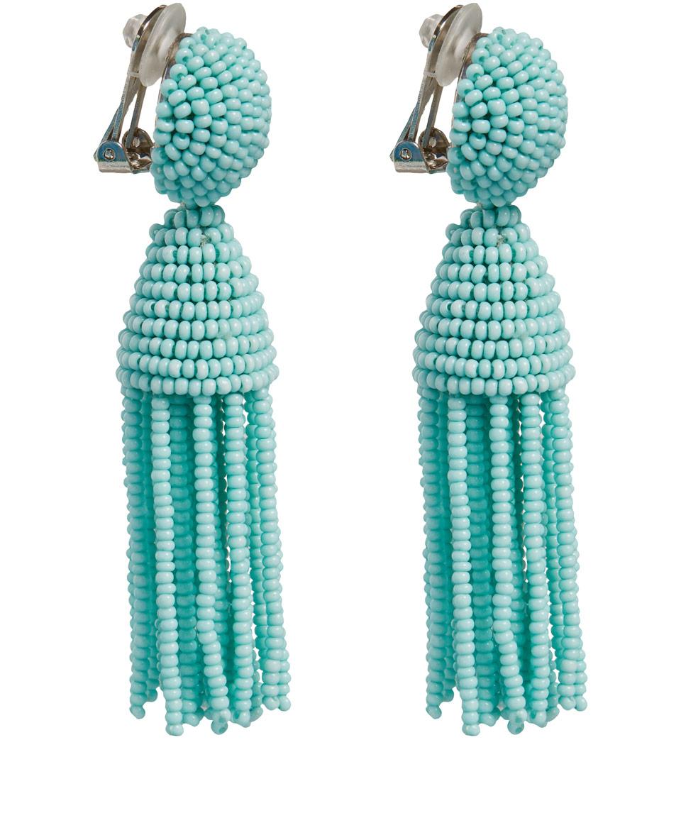 Oscar De La Renta Short Beaded Tassel Earrings In Blue Lyst