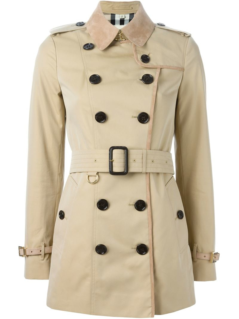 Burberry Trimmed Short Trench Coat In Natural