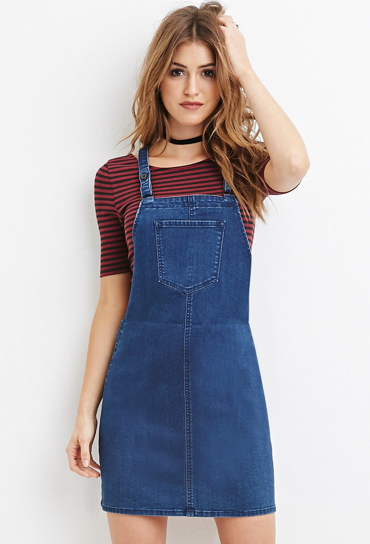 Forever 21 Denim Overall Dress in Blue | Lyst