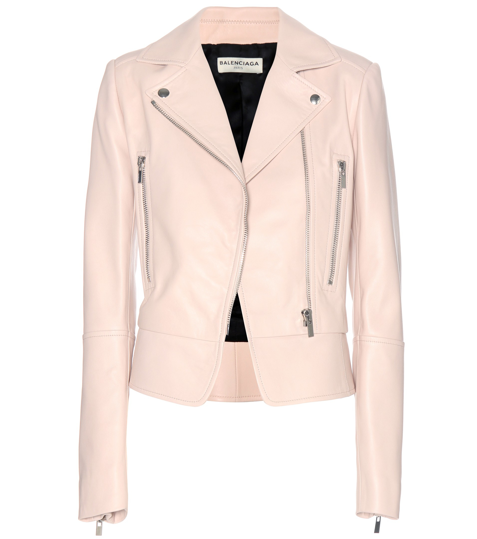 Lyst - Balenciaga Leather Biker Jacket in Natural ad7181c1ce