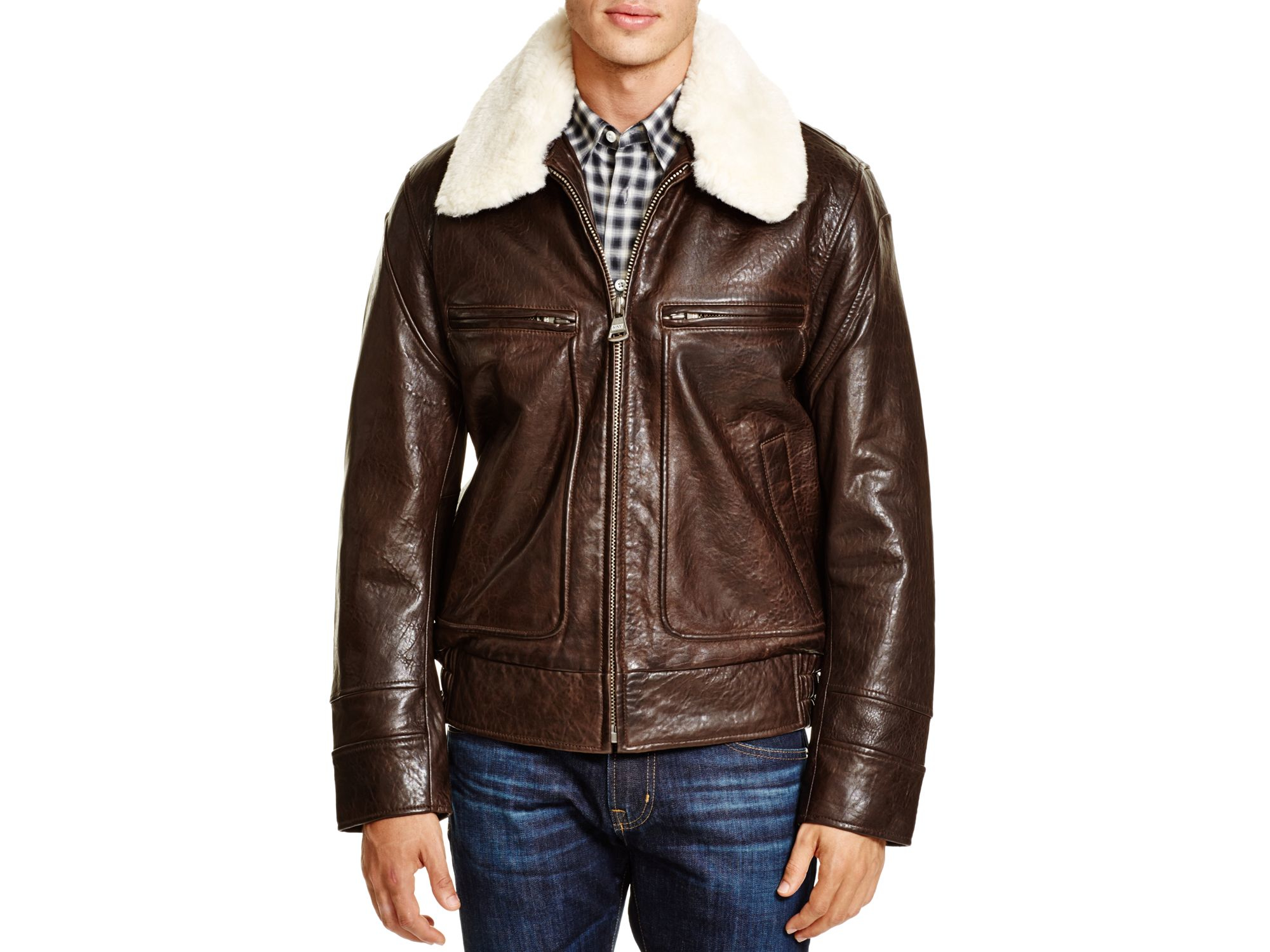 Marc new york Carmine Aviator Leather Bomber Jacket in Brown for ...