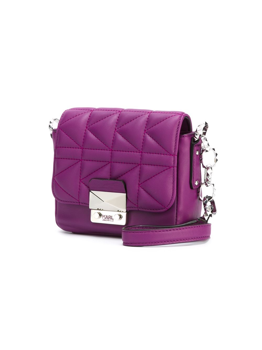 Karl Lagerfeld Mini Quilted Cross Body Bag In Purple Lyst