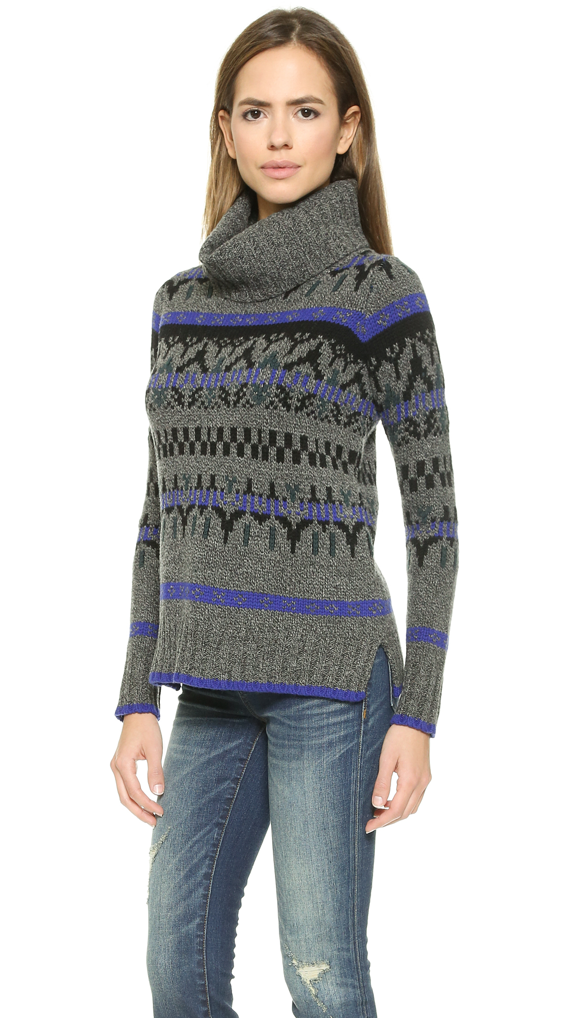 Madewell Fair Isle Turtleneck Sweater - Heather Static in Gray | Lyst