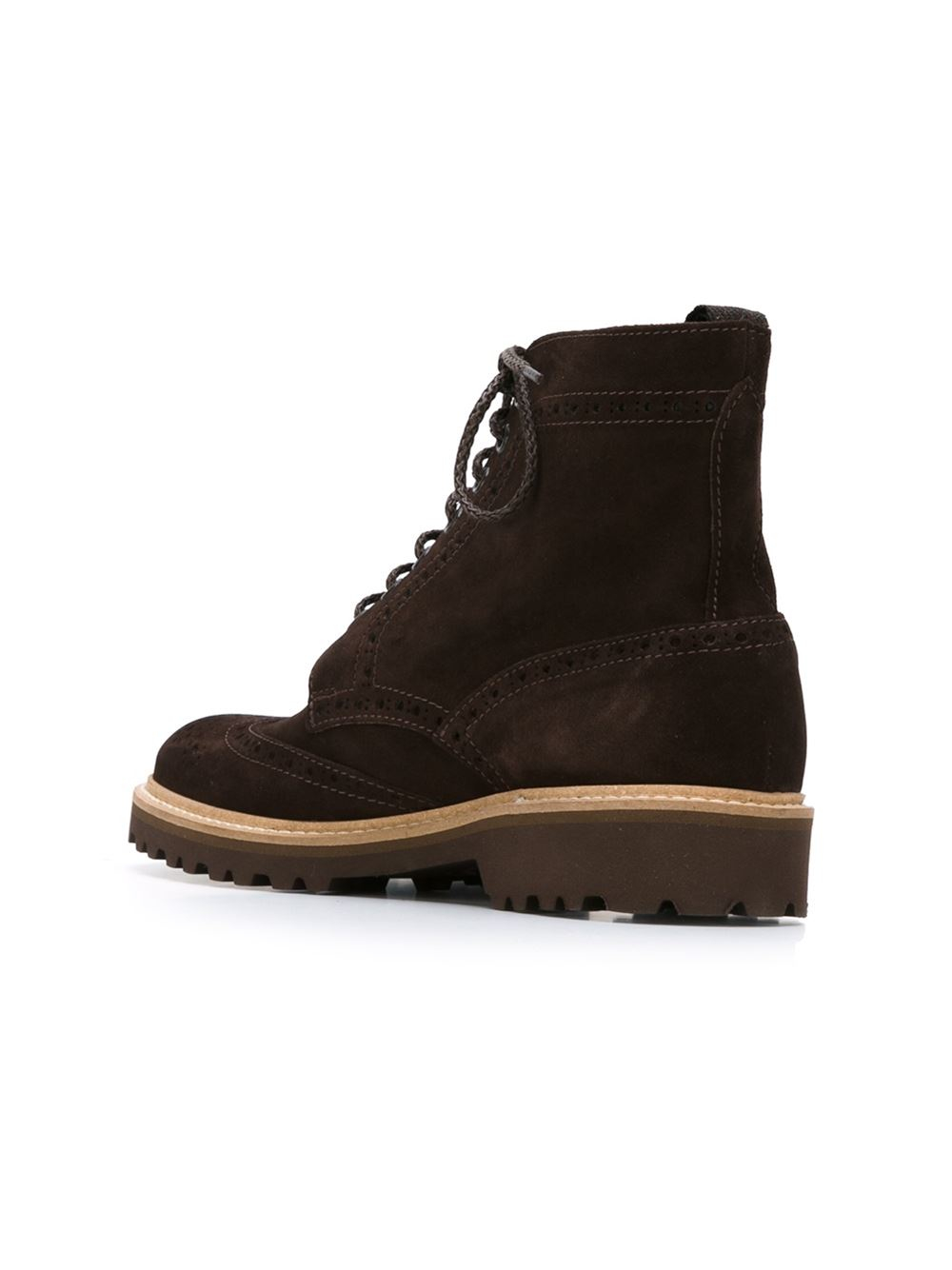 eleventy brogue boots in brown lyst
