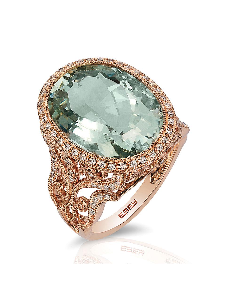 Effy 14k Rose Gold Green Amethyst And Diamond Ring In