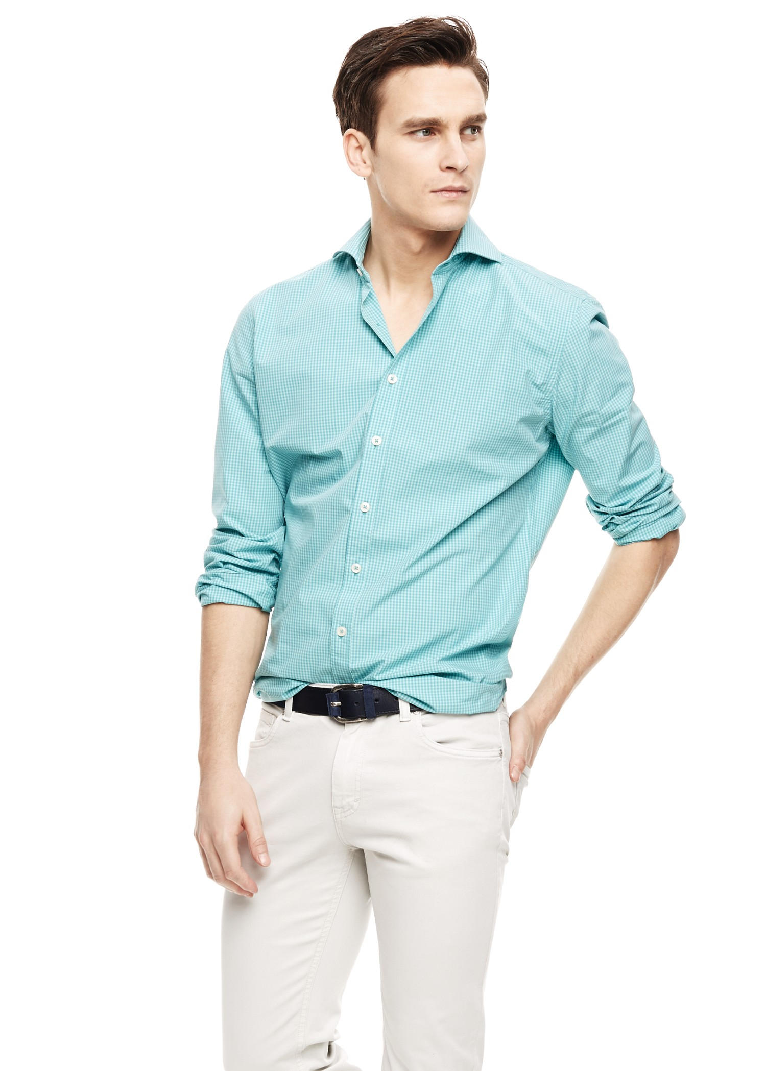 Mango slim fit gingham check shirt in green for men for Slim fit gingham check shirt