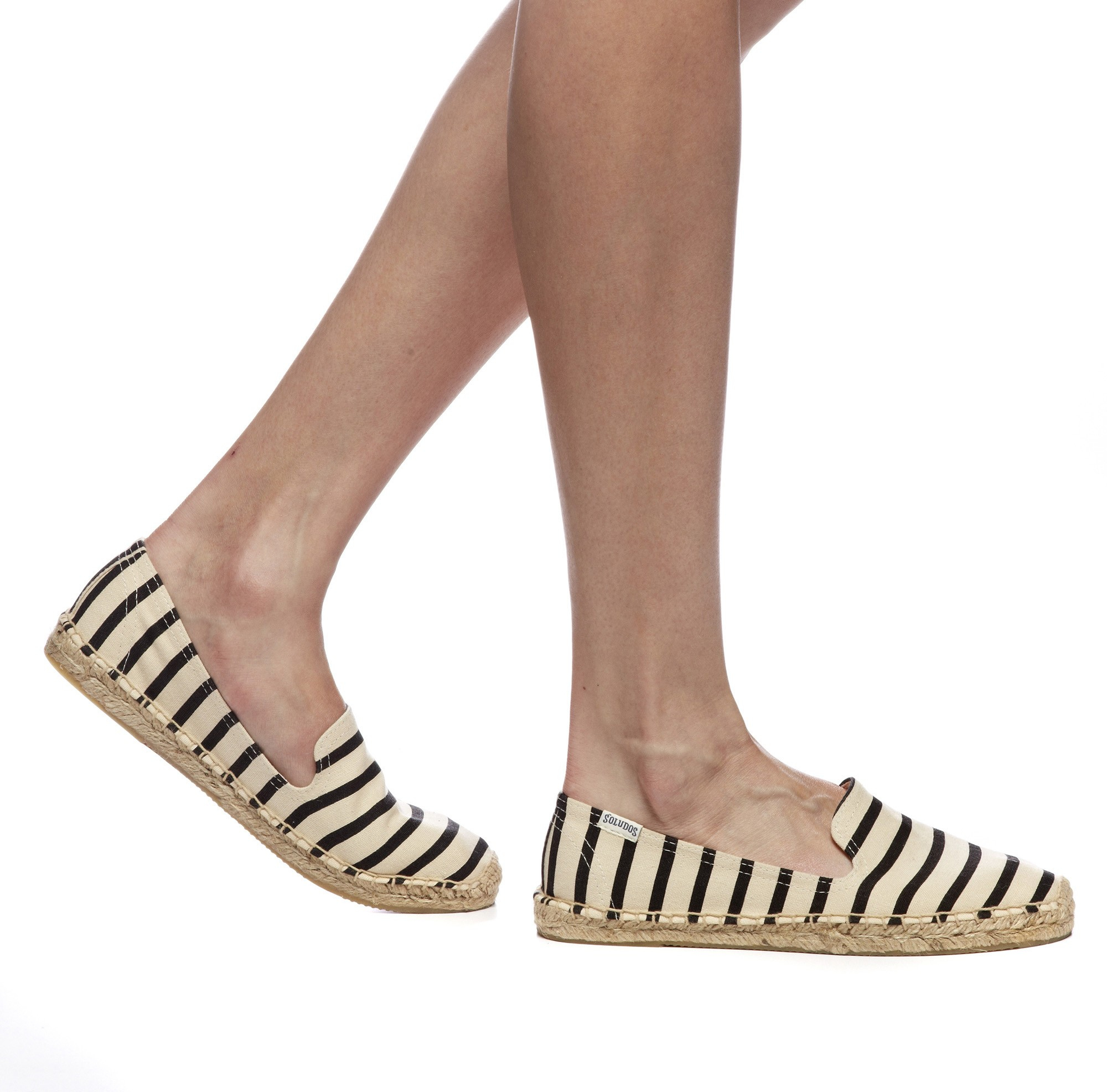 Soludos classic stripe smoking slipper in natural lyst