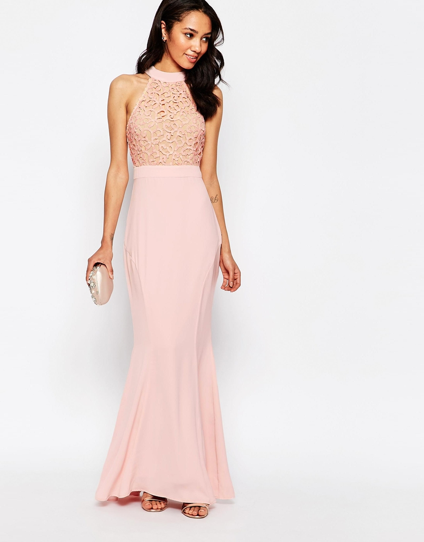 Jarlo Caden Lace Detail Halter Neck Maxi Dress - Pink in Pink - Lyst