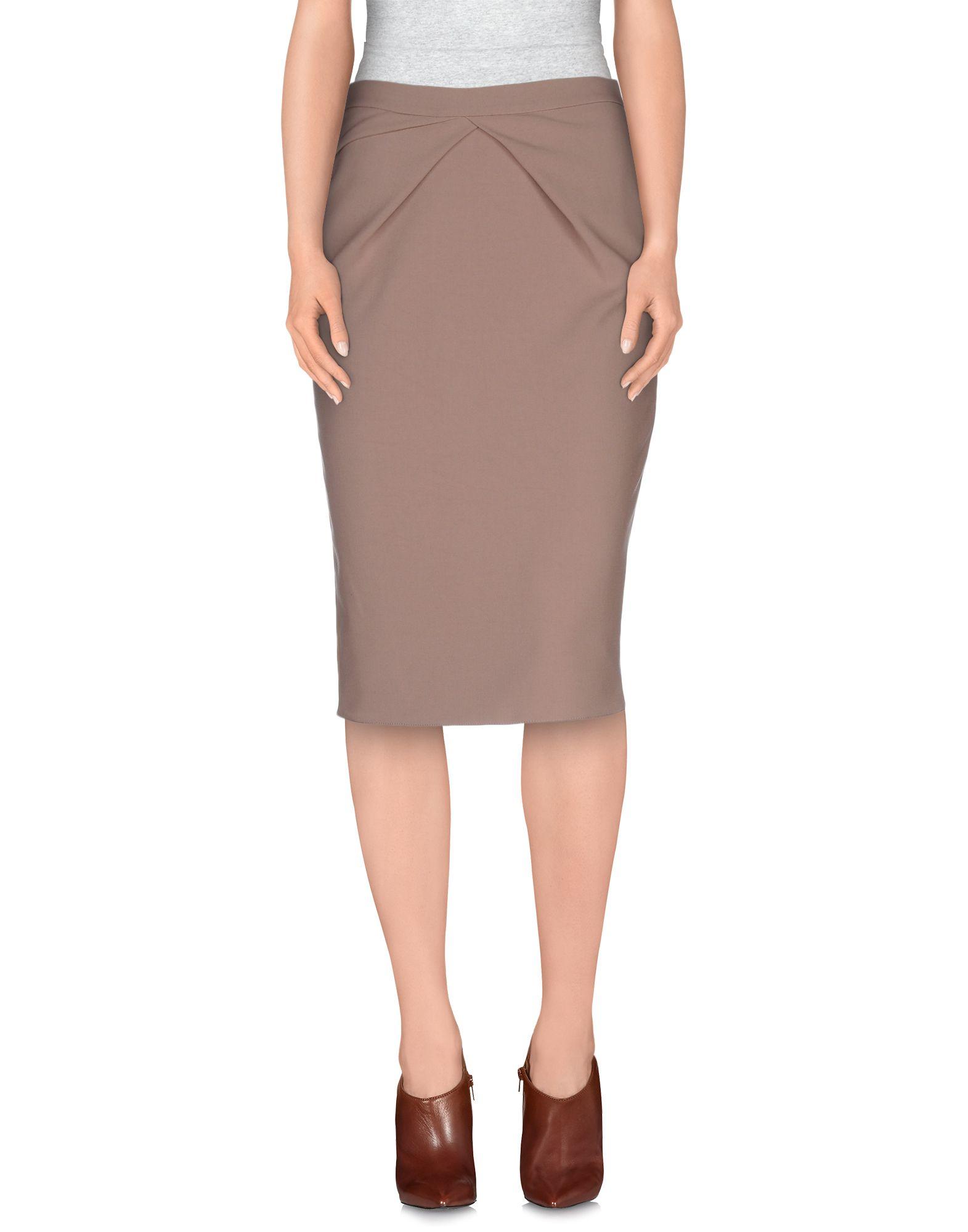list knee length skirt in brown light brown lyst