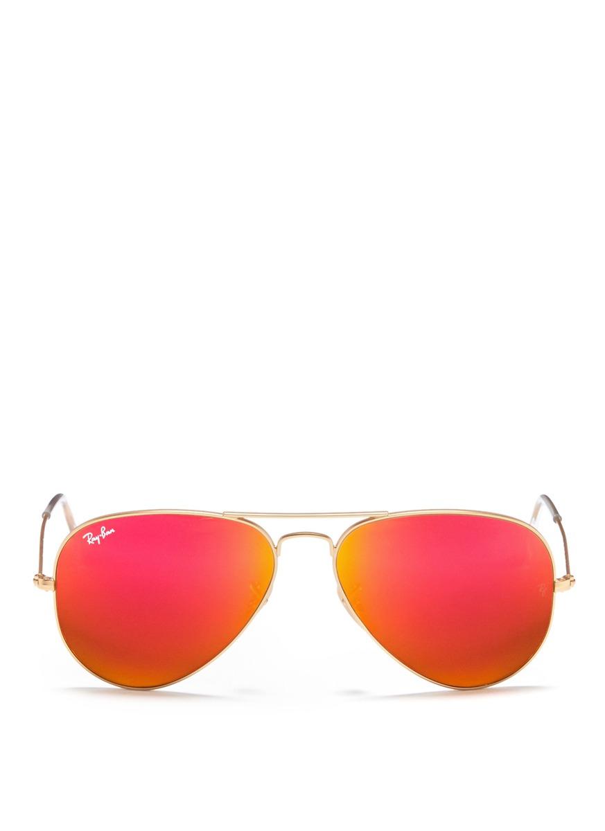 Lyst - Ray-Ban 'aviator Large Metal' Mirror Sunglasses in
