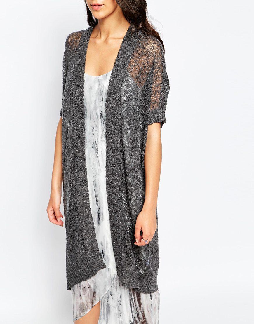 Vero moda Short Sleeve Long Line Cardigan in Gray | Lyst