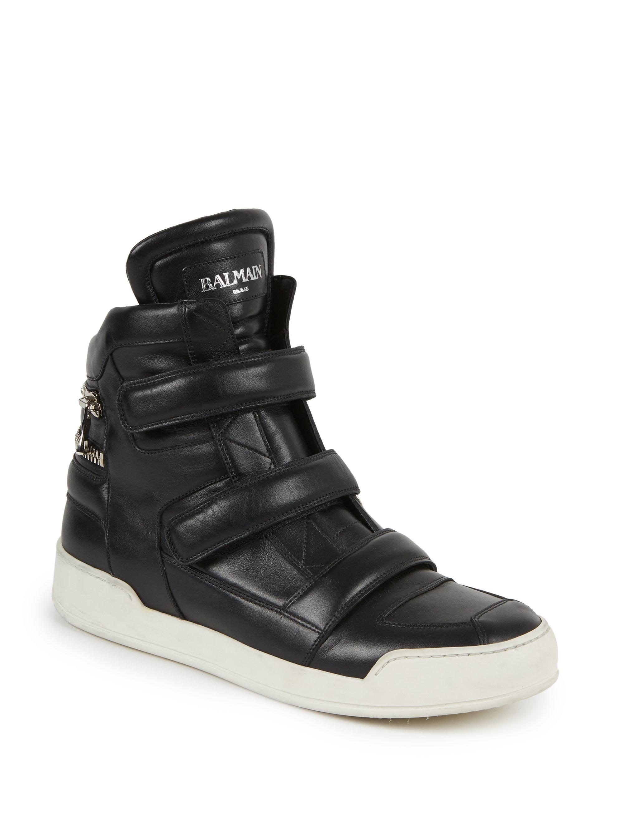 Balmain Zip Detail Leather High Top Sneakers In Black For