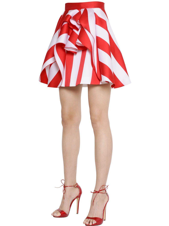 Zuhair murad Ruffled Striped Silk Blend Scuba Skirt in Red | Lyst