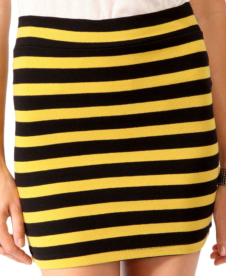 Black And Yellow Striped Skirt - Dress Ala