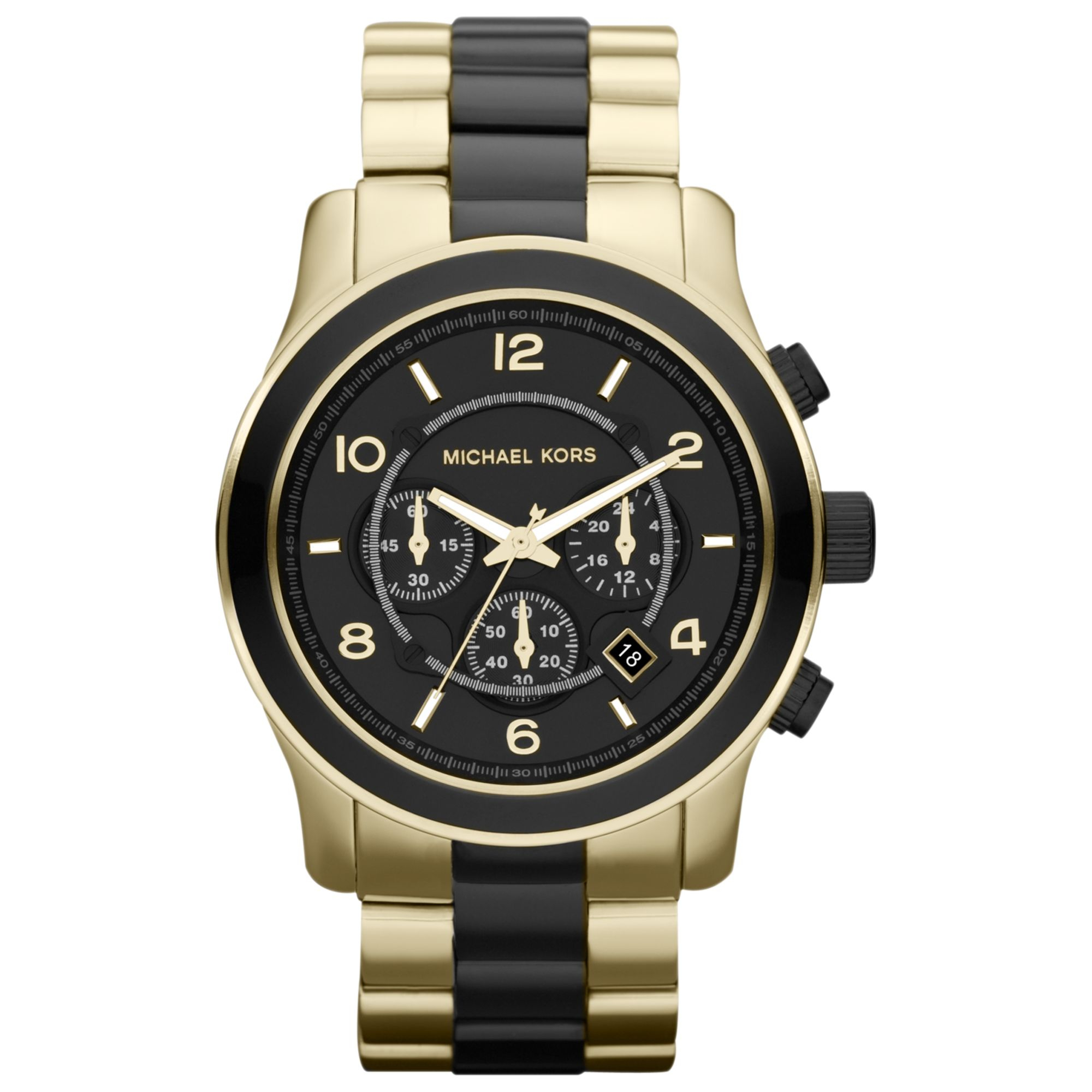 michael kors black and golden stainless steel runway chronograph gallery