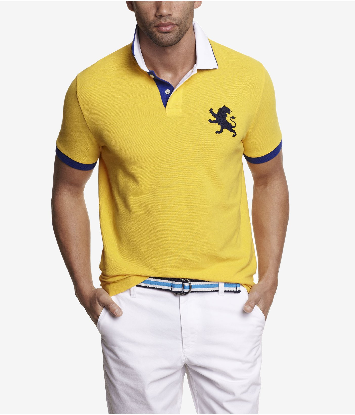 Lyst Express Color Tipped Large Lion Polo In Yellow For Men