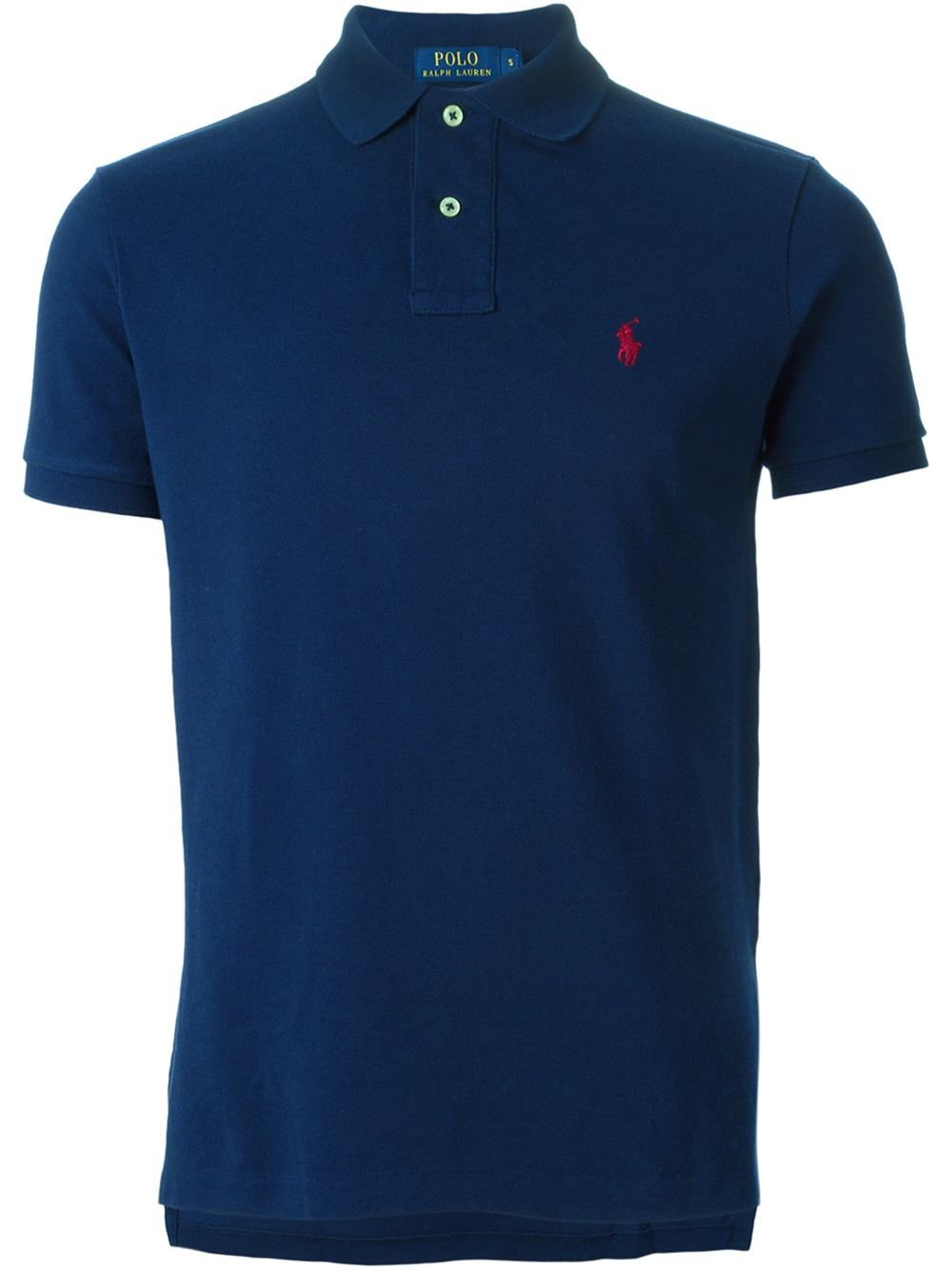 Polo ralph lauren embroidered logo polo shirt in blue for for Ralph lauren logo shirt