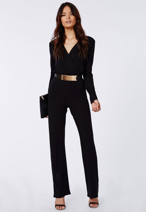 new cheap great discount sale discover latest trends Missguided Deliana Long Sleeved Wrap Wide Leg Jumpsuit Black ...