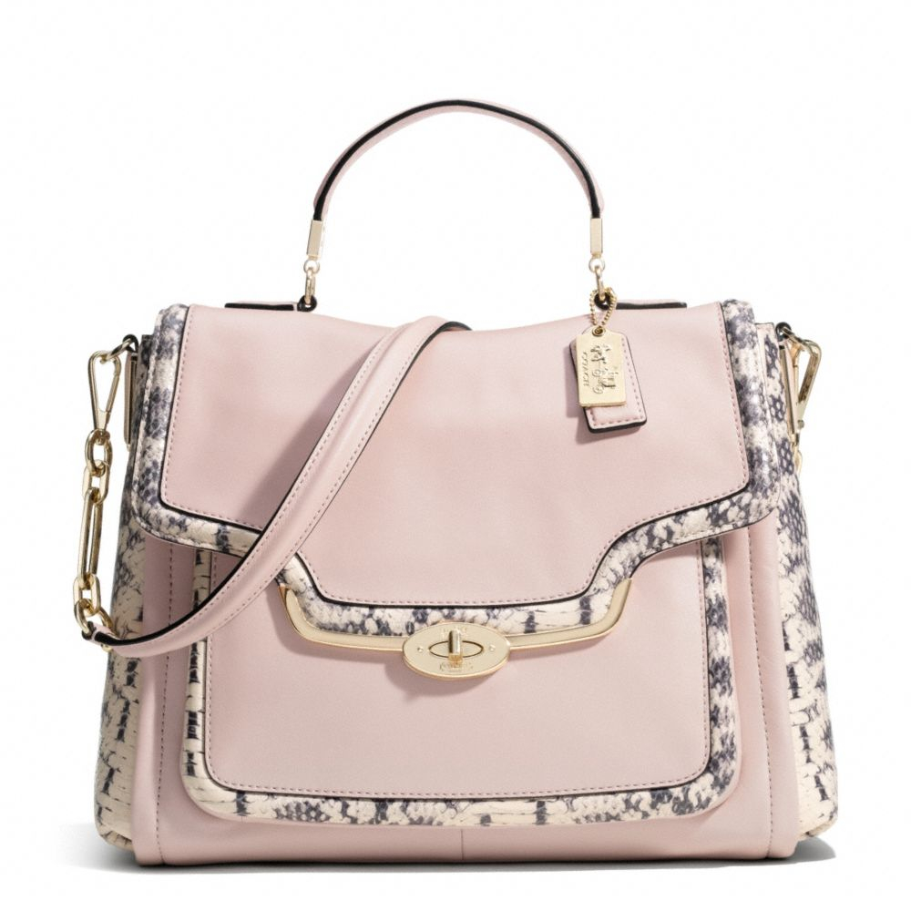 59960d2aa85 Lyst - COACH Madison Sadie Flap Satchel in Twotone Python Embossed ...