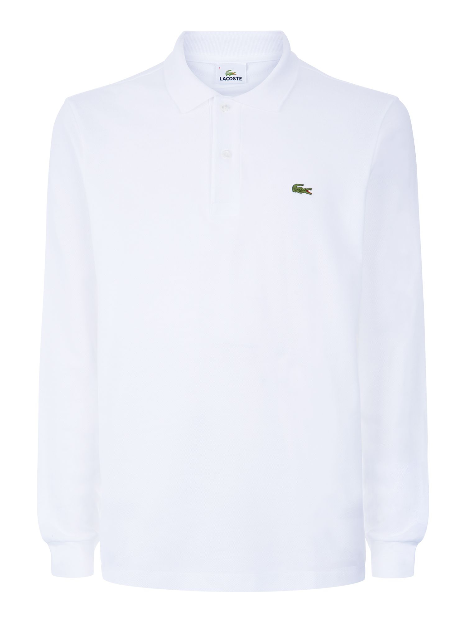 lacoste classic long sleeved polo shirt in white for men. Black Bedroom Furniture Sets. Home Design Ideas