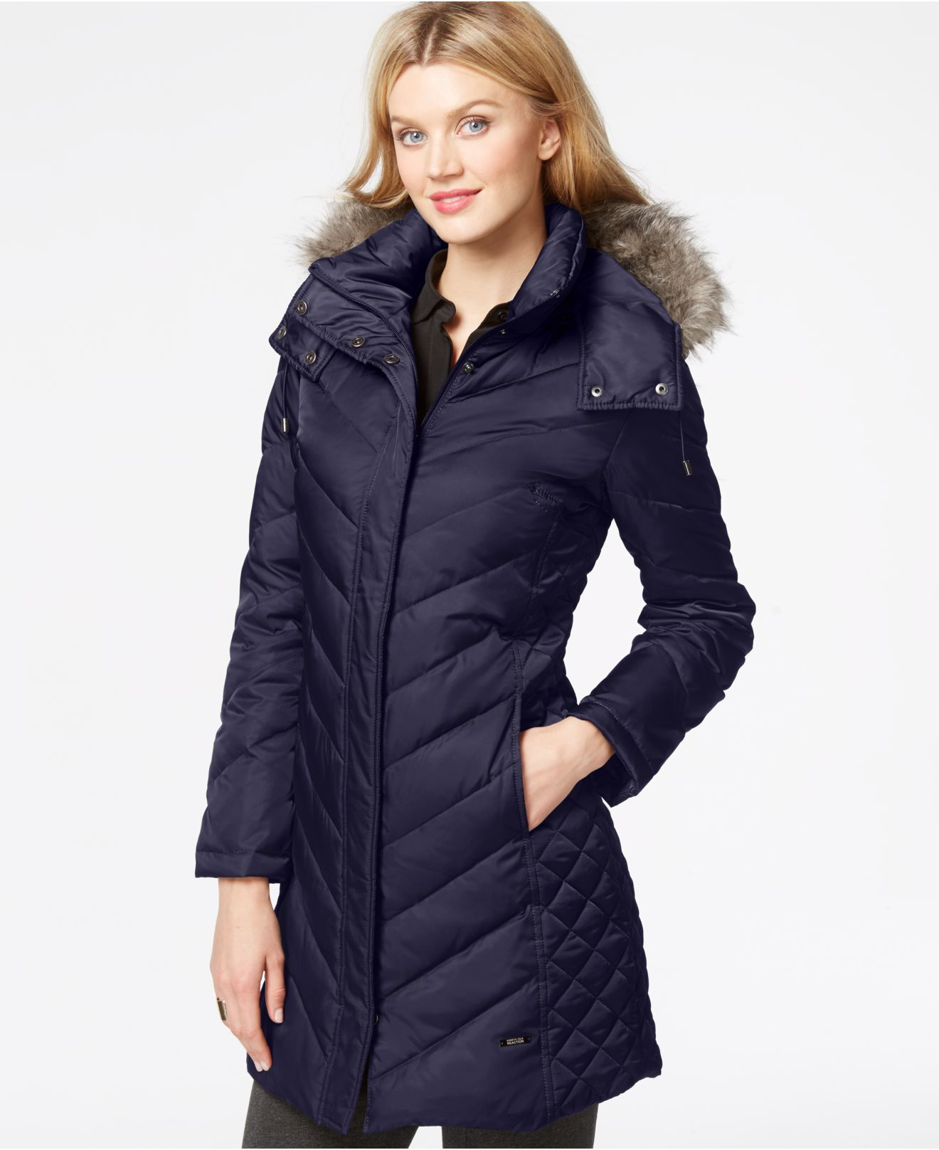 Kenneth cole Faux-Fur-Trim Chevron Quilted Down Coat in Blue | Lyst