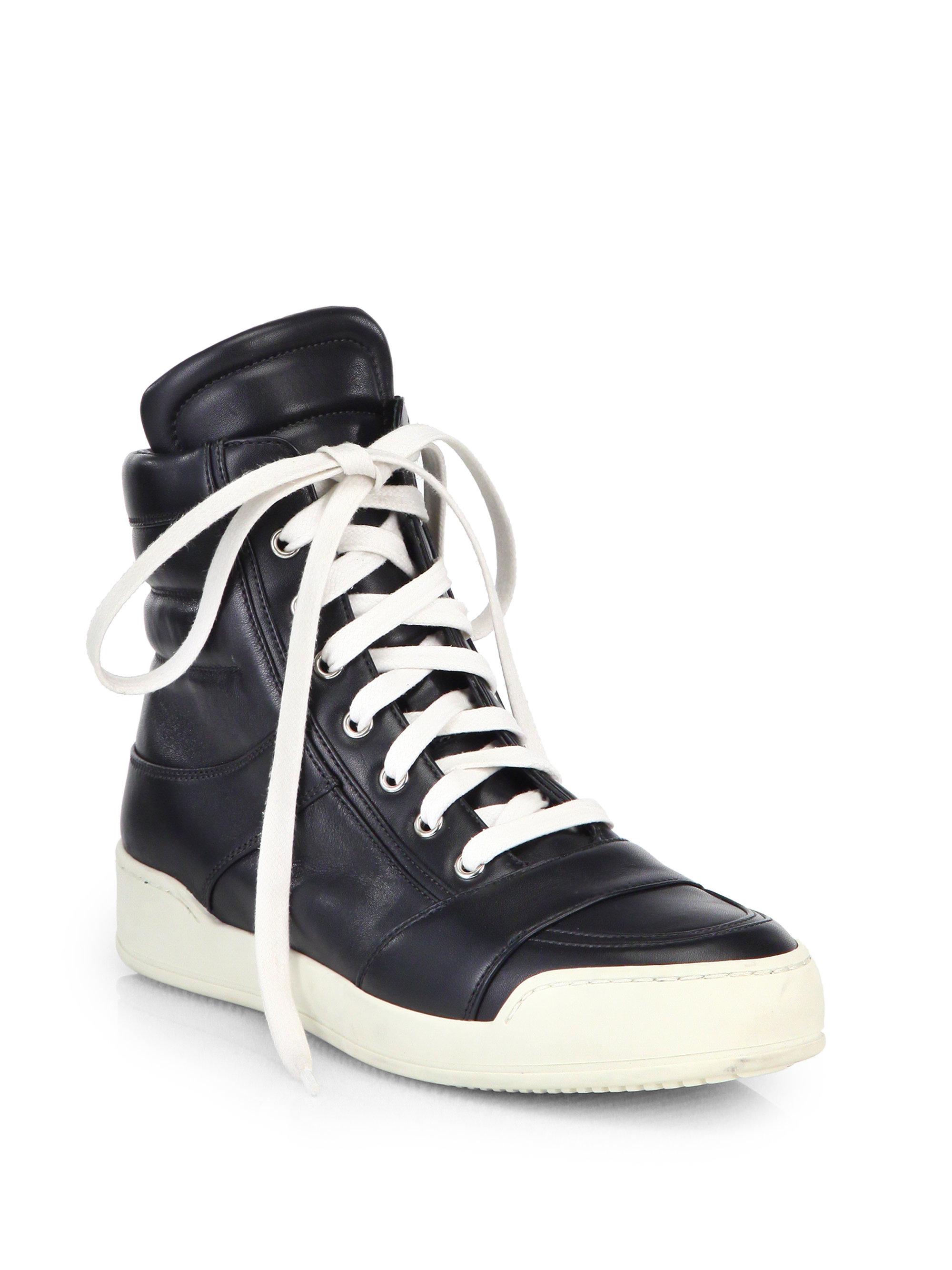 Balmain Black Leather High-Top Sneakers VZpkjssb21