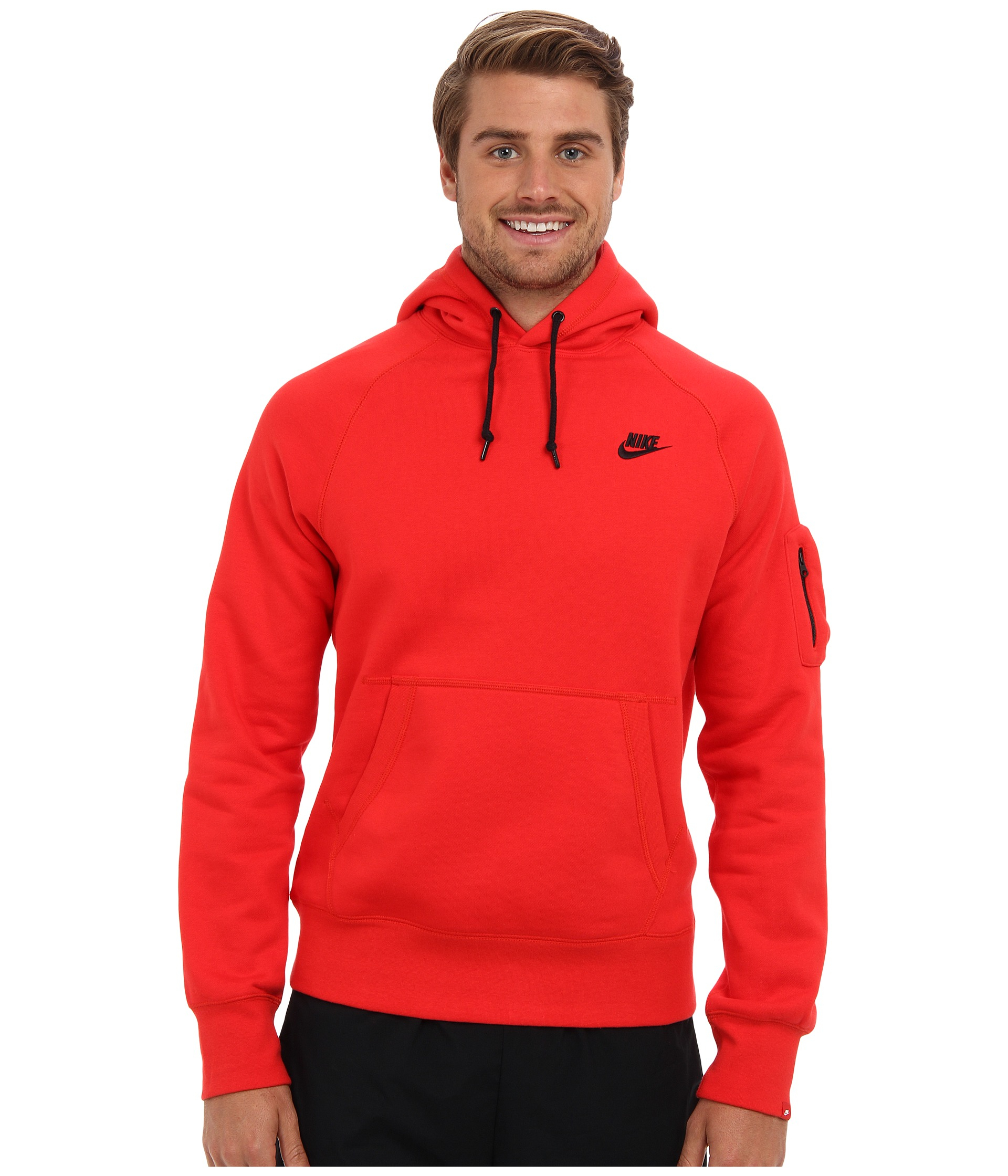 Nike Aw77 Fleece Pullover Hoodie in Red for Men | Lyst