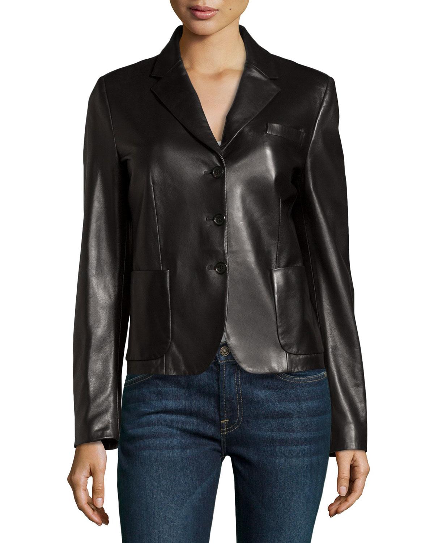 michael kors long sleeve leather jacket in black lyst. Black Bedroom Furniture Sets. Home Design Ideas