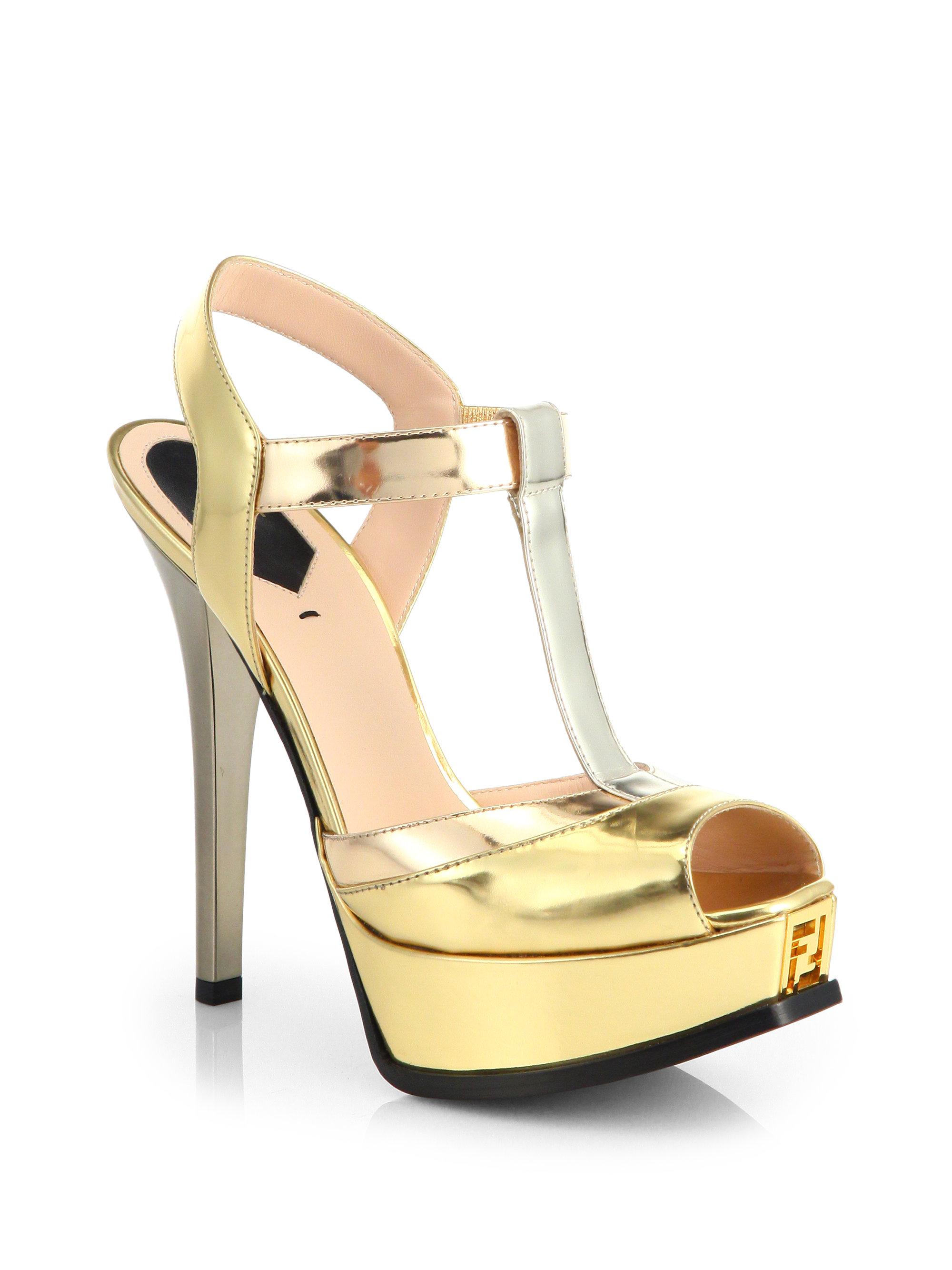 e7c948c98e92 Lyst - Fendi Sta Metallic T-strap Platform Sandals in Metallic