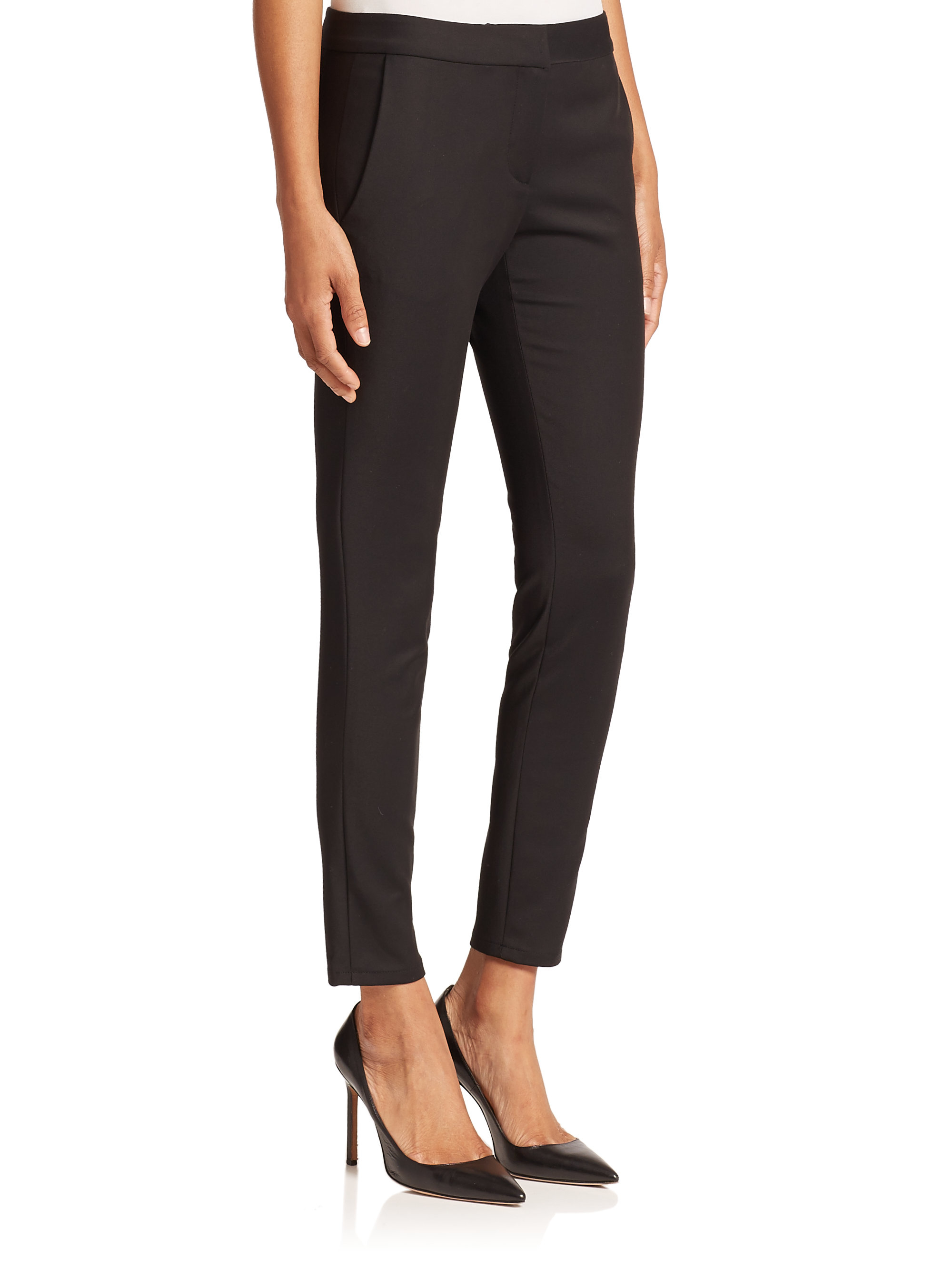 Lyst L Agence Low Rise Skinny Pants In Black