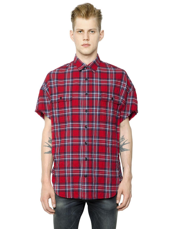 Lyst r13 oversized cutoff japanese plaid shirt in red for Oversized red plaid shirt