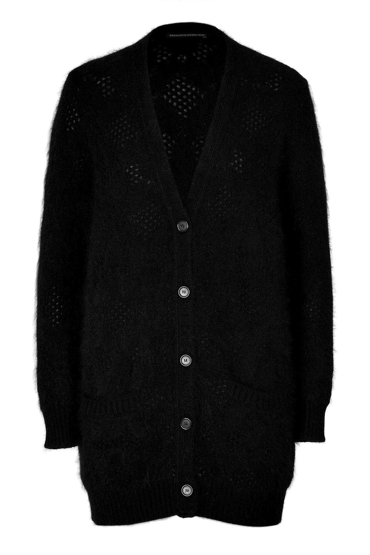 Ermanno scervino Angora-Cotton Maxi Cardigan in Black | Lyst